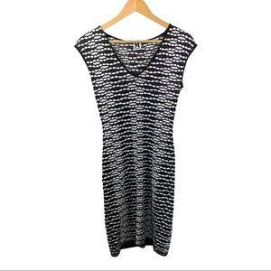 M MISSONI Knit Sheath Dress Black/White Size 4
